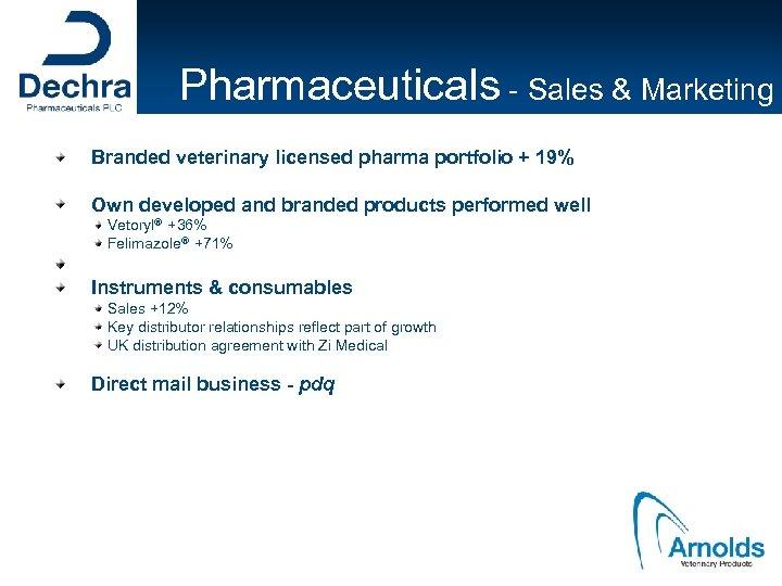 Pharmaceuticals - Sales & Marketing Branded veterinary licensed pharma portfolio + 19% Own developed