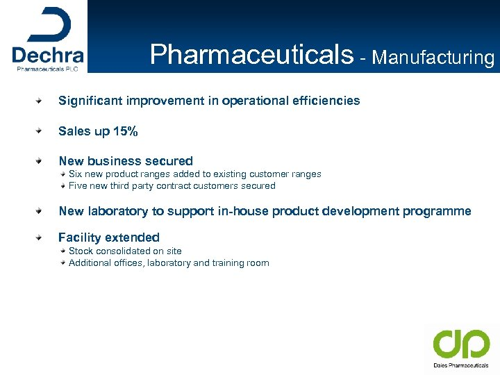 Pharmaceuticals - Manufacturing Significant improvement in operational efficiencies Sales up 15% New business secured