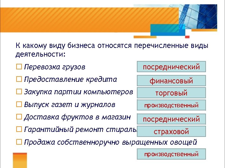К какому виду бизнеса относятся перечисленные виды деятельности: ¨ Перевозка грузов ¨ Предоставление кредита