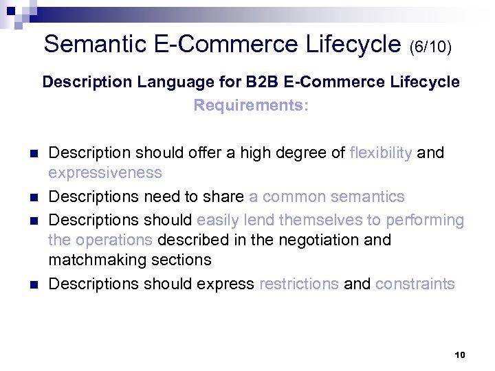 Semantic E-Commerce Lifecycle (6/10) Description Language for B 2 B E-Commerce Lifecycle Requirements: n