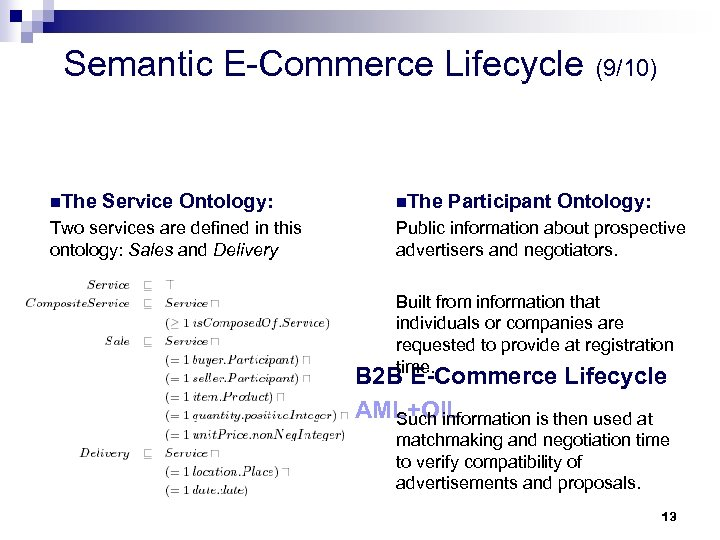 Semantic E-Commerce Lifecycle (9/10) n. The Service Ontology: Two services are defined in this