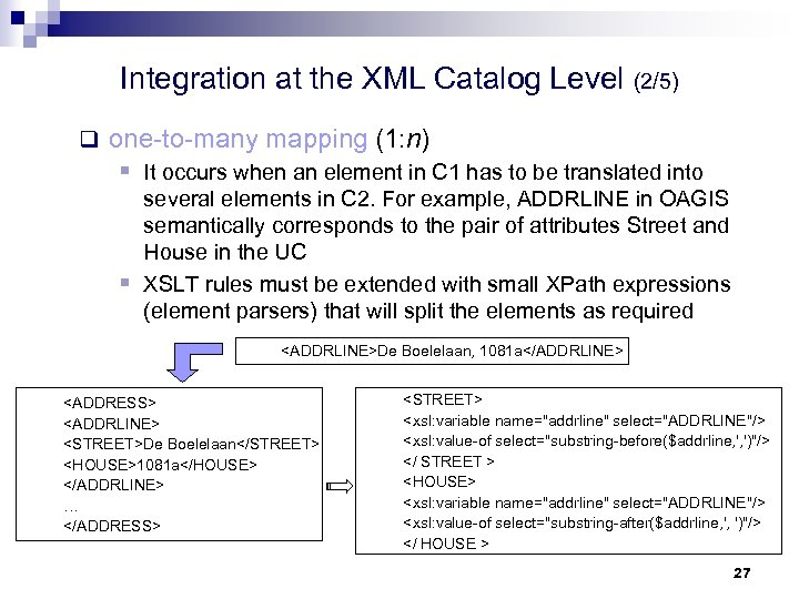 Integration at the XML Catalog Level (2/5) q one-to-many mapping (1: n) § It
