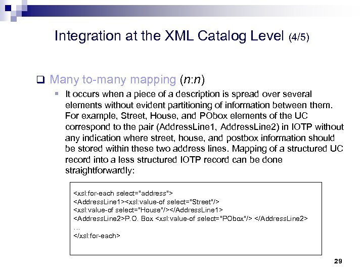 Integration at the XML Catalog Level (4/5) q Many to-many mapping (n: n) §