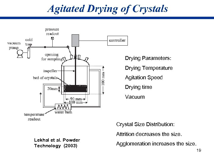 Agitated Drying of Crystals Drying Parameters: Drying Temperature Agitation Speed Drying time Vacuum Crystal