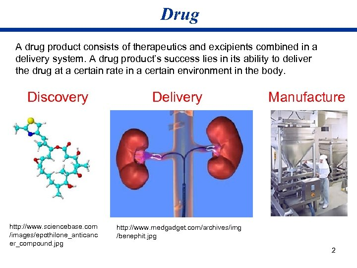 Drug A drug product consists of therapeutics and excipients combined in a delivery system.
