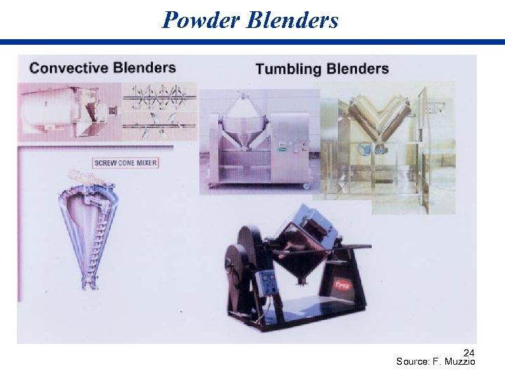 Powder Blenders 24 Source: F. Muzzio