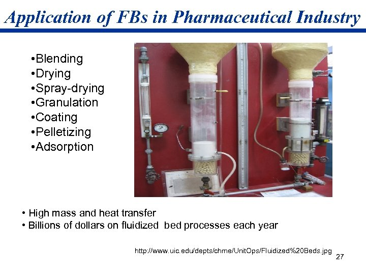 Application of FBs in Pharmaceutical Industry • Blending • Drying • Spray-drying • Granulation