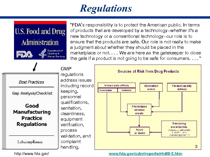 """Regulations """"FDA's responsibility is to protect the American public. In terms of products that"""