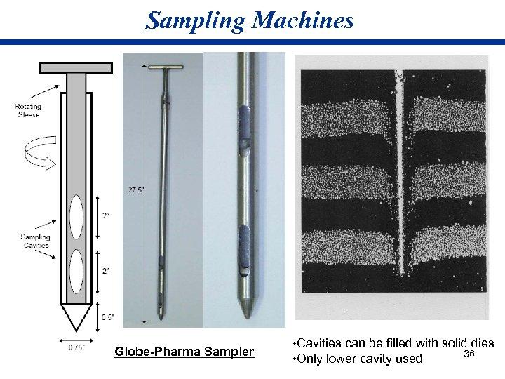 Sampling Machines Globe-Pharma Sampler • Cavities can be filled with solid dies 36 •