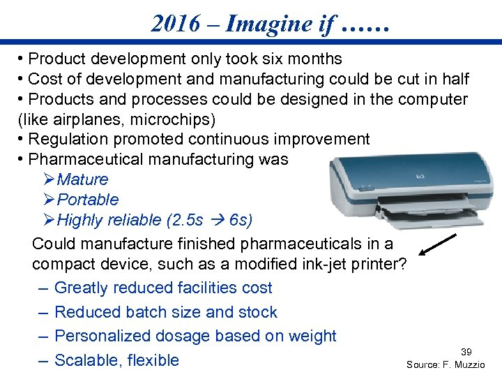 2016 – Imagine if …… • Product development only took six months • Cost