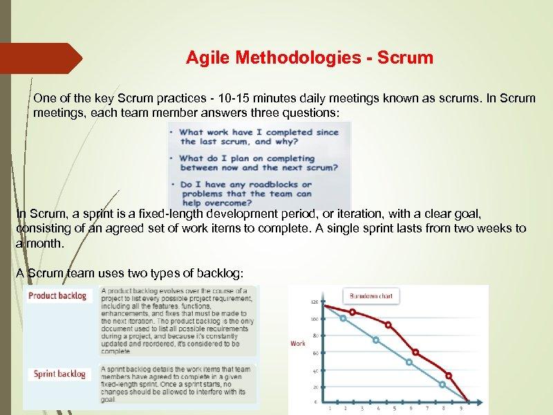 Agile Methodologies - Scrum One of the key Scrum practices - 10 -15 minutes