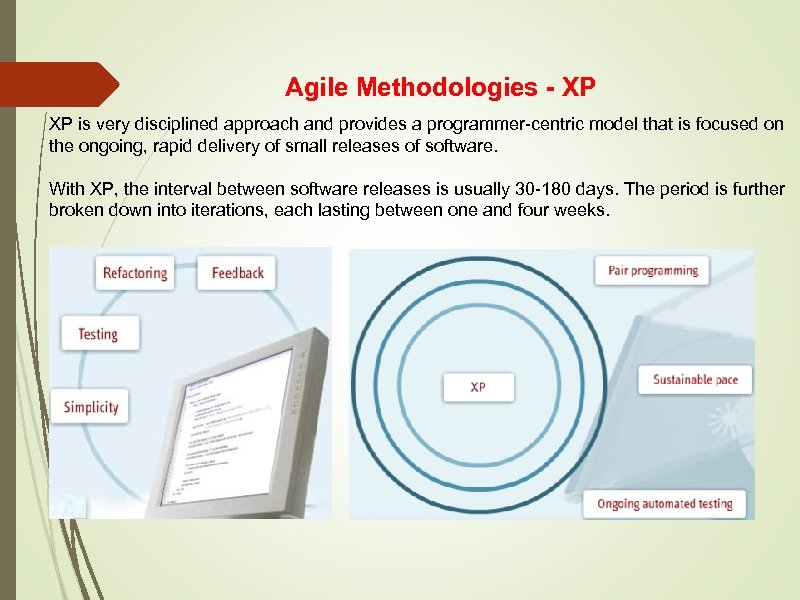 Agile Methodologies - XP XP is very disciplined approach and provides a programmer-centric model