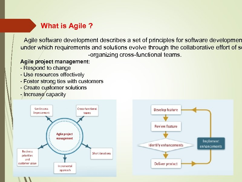 What is Agile ? Agile software development describes a set of principles for software
