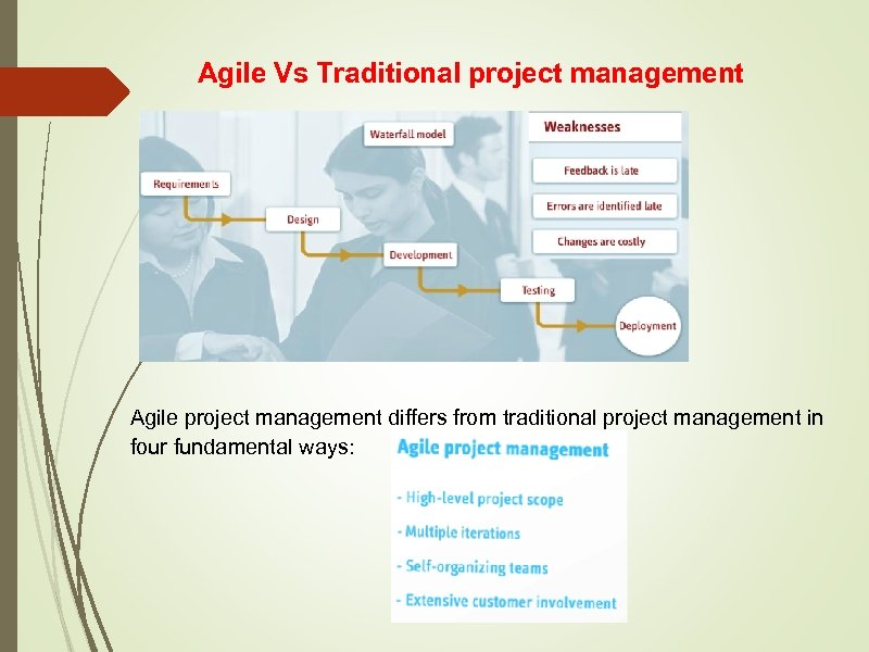 Agile Vs Traditional project management Agile project management differs from traditional project management in