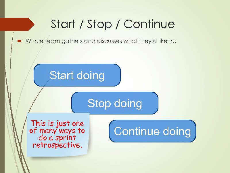 Start / Stop / Continue Whole team gathers and discusses what they'd like to: