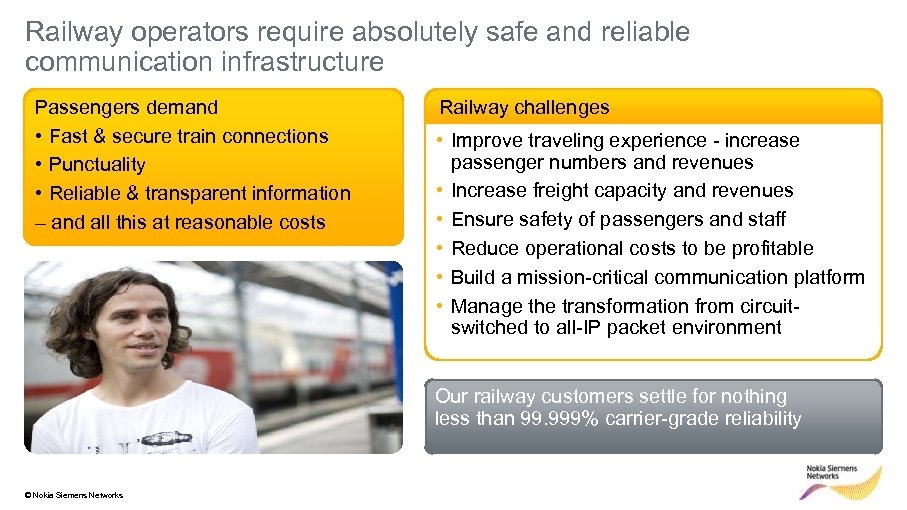 Railway operators require absolutely safe and reliable communication infrastructure Passengers demand • Fast &