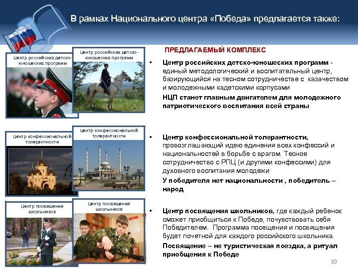 В рамках Национального центра «Победа» предлагается также: Центр российских детскоюношеских программ Центр конфессиональной толерантности