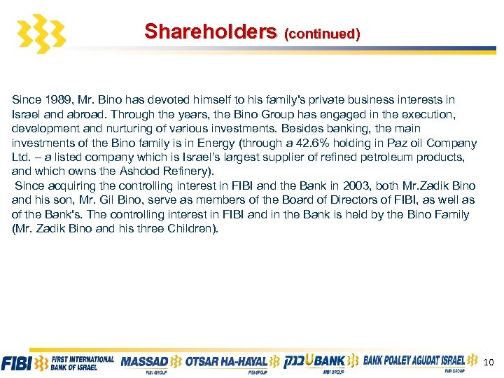 Shareholders (continued) Since 1989, Mr. Bino has devoted himself to his family's private business