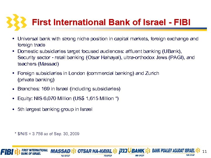 First International Bank of Israel - FIBI • Universal bank with strong niche position