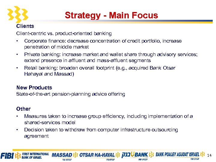 Strategy - Main Focus Client-centric vs. product-oriented banking • Corporate finance: decrease concentration of