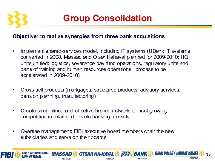 Group Consolidation Objective: to realize synergies from three bank acquisitions • Implement shared-services model,