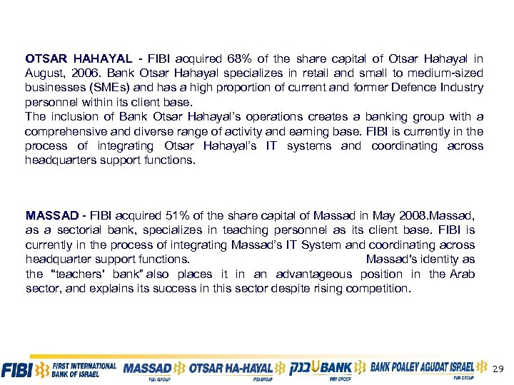 OTSAR HAHAYAL - FIBI acquired 68% of the share capital of Otsar Hahayal in