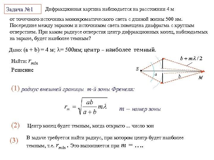 Задача № 1 Дифракционная картина наблюдается на расстоянии 4 м от точечного источника монохроматического