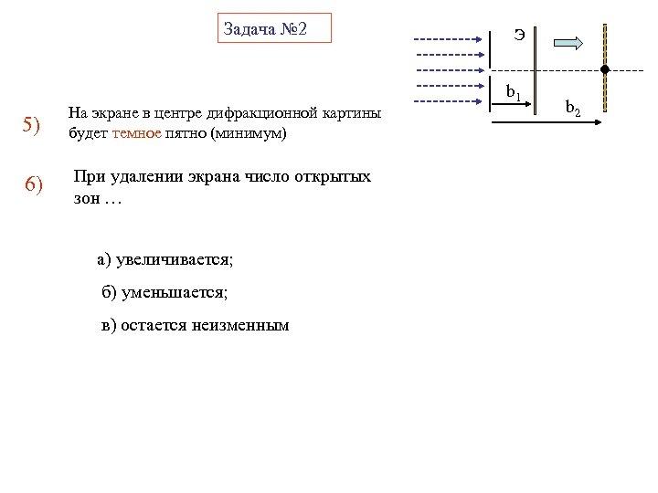 Задача № 2 5) На экране в центре дифракционной картины будет темное пятно (минимум)