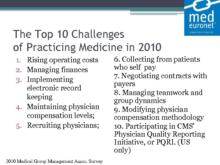 The Top 10 Challenges of Practicing Medicine in 2010 1. Rising operating costs
