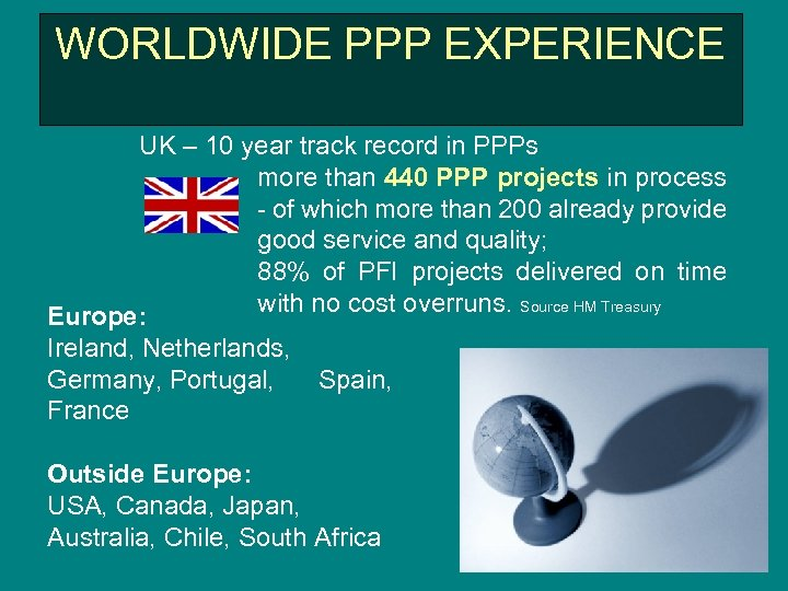 WORLDWIDE PPP EXPERIENCE UK – 10 year track record in PPPs more than 440