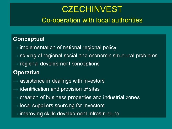 CZECHINVEST Co-operation with local authorities Conceptual implementation of national regional policy solving of regional