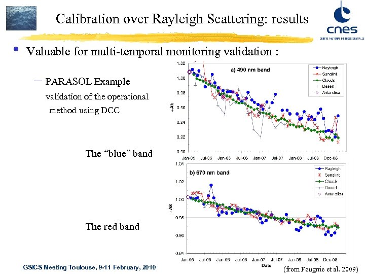 Calibration over Rayleigh Scattering: results • Valuable for multi-temporal monitoring validation : – PARASOL
