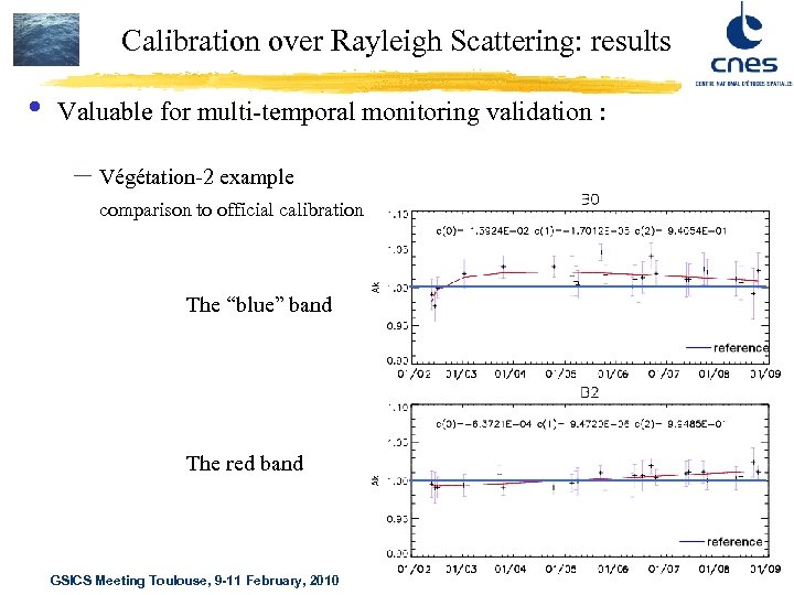 Calibration over Rayleigh Scattering: results • Valuable for multi-temporal monitoring validation : – Végétation-2