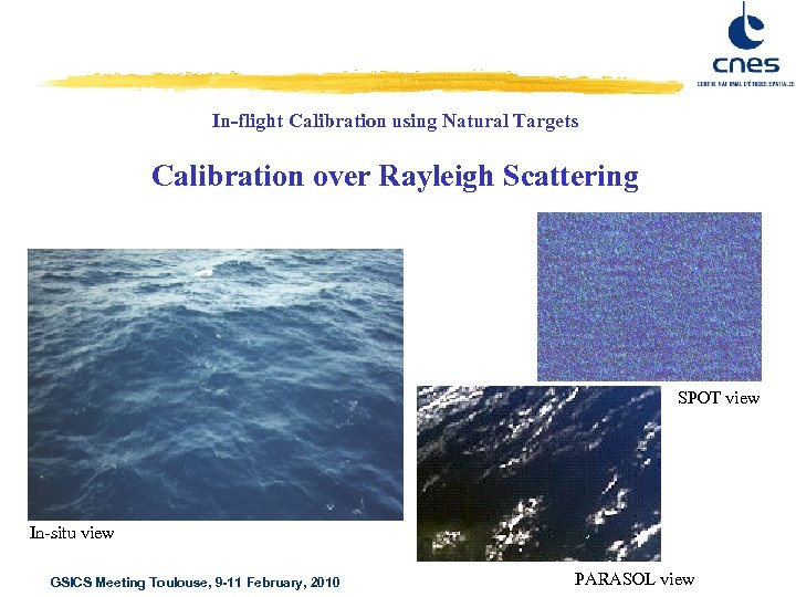 In-flight Calibration using Natural Targets Calibration over Rayleigh Scattering SPOT view In-situ view GSICS