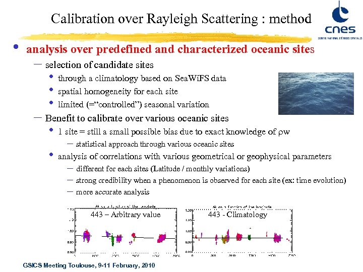 Calibration over Rayleigh Scattering : method • analysis over predefined and characterized oceanic sites