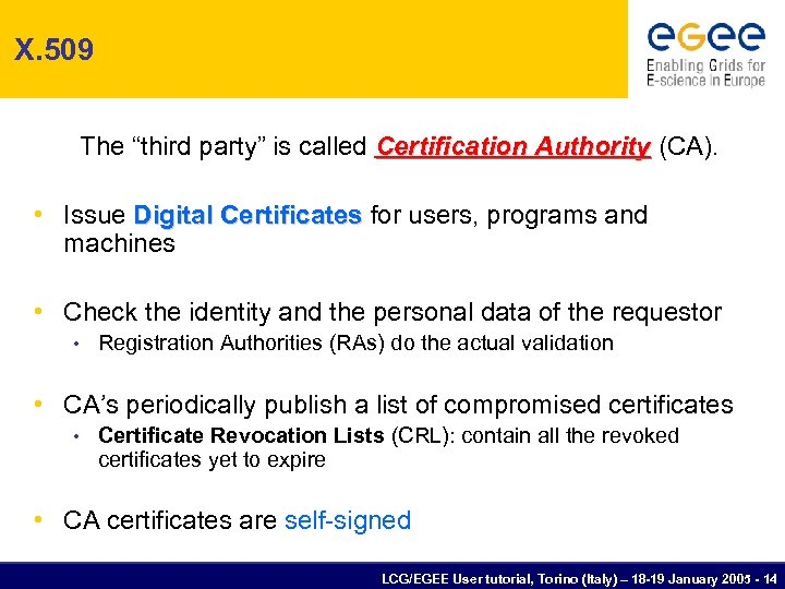 "X. 509 The ""third party"" is called Certification Authority (CA). • Issue Digital Certificates"