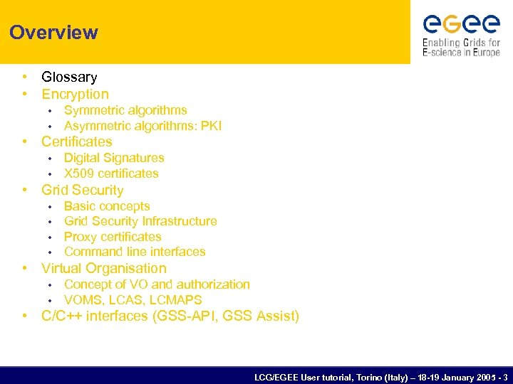 Overview • Glossary • Encryption • • Symmetric algorithms Asymmetric algorithms: PKI • Certificates
