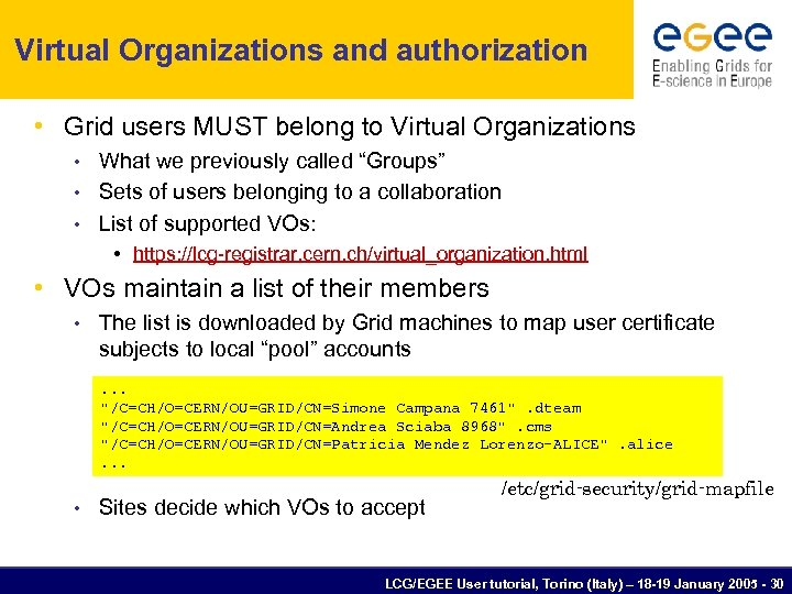 Virtual Organizations and authorization • Grid users MUST belong to Virtual Organizations What we