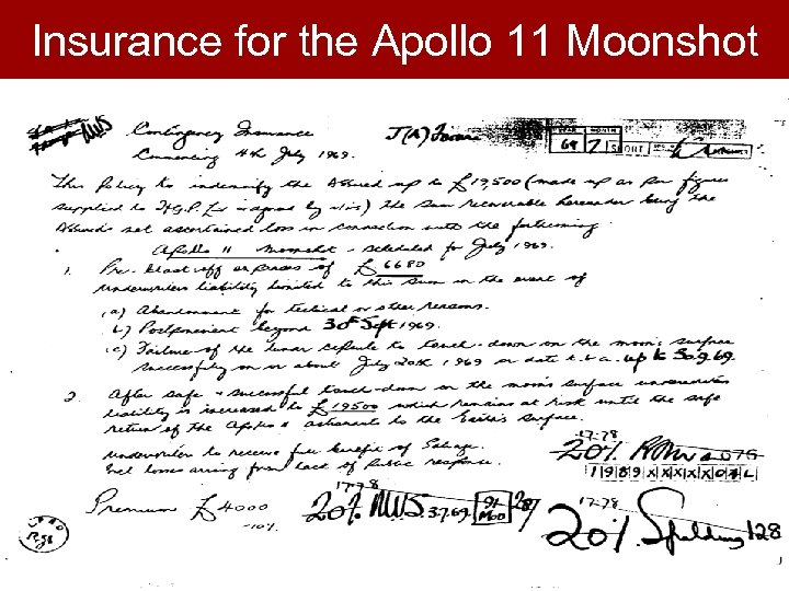Insurance for the Apollo 11 Moonshot
