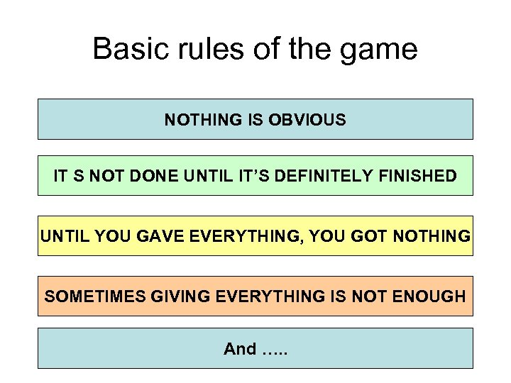 Basic rules of the game NOTHING IS OBVIOUS IT S NOT DONE UNTIL IT'S
