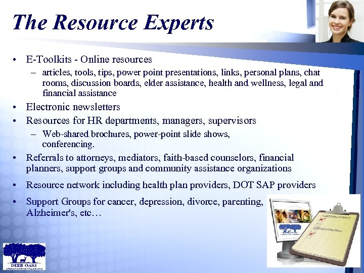 The Resource Experts • E-Toolkits - Online resources – articles, tools, tips, power point