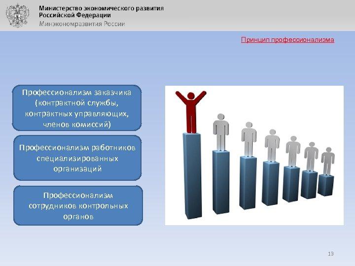 Принцип профессионализма Профессионализм заказчика (контрактной службы, контрактных управляющих, членов комиссий) Профессионализм работников специализированных организаций