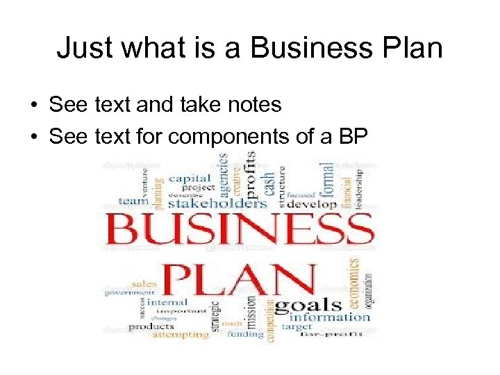 Just what is a Business Plan • See text and take notes • See