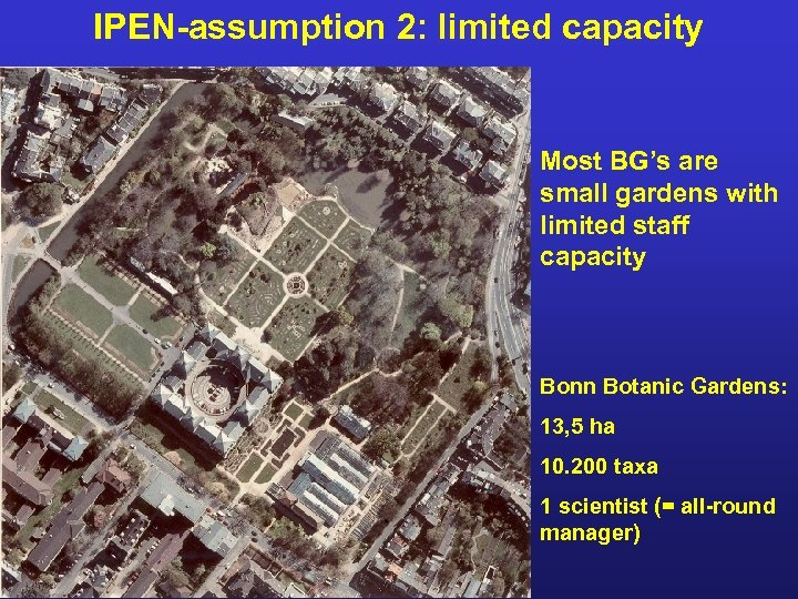 IPEN-assumption 2: limited capacity Most BG's are small gardens with limited staff capacity Bonn