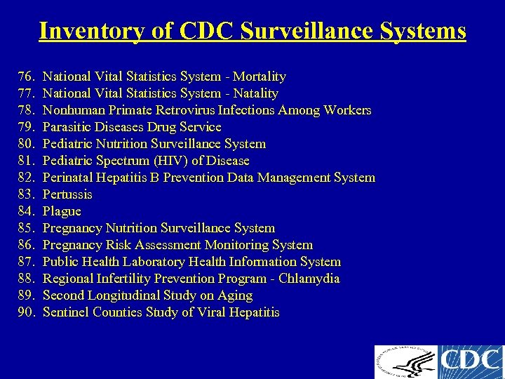 Inventory of CDC Surveillance Systems 76. 77. 78. 79. 80. 81. 82. 83. 84.