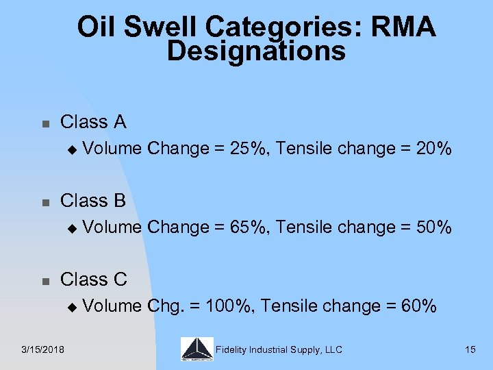 Oil Swell Categories: RMA Designations n Class A u n Class B u n