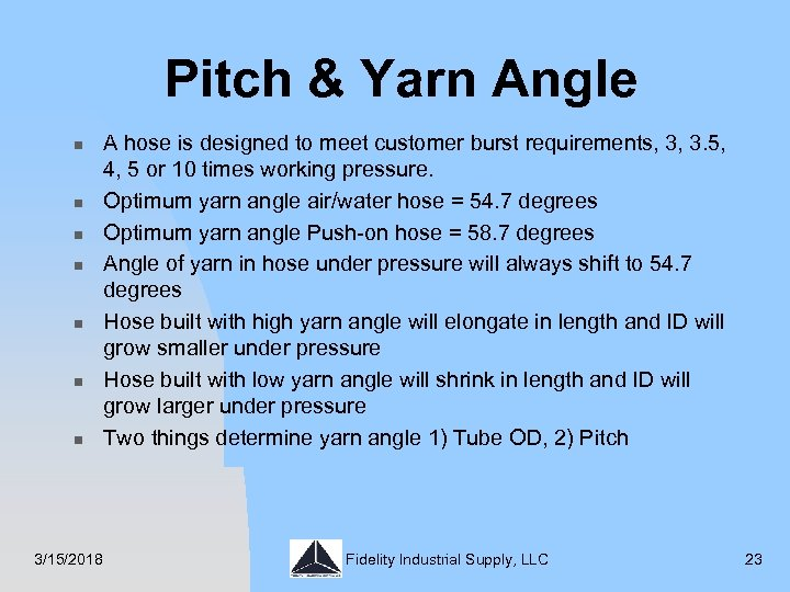 Pitch & Yarn Angle n n n n 3/15/2018 A hose is designed to