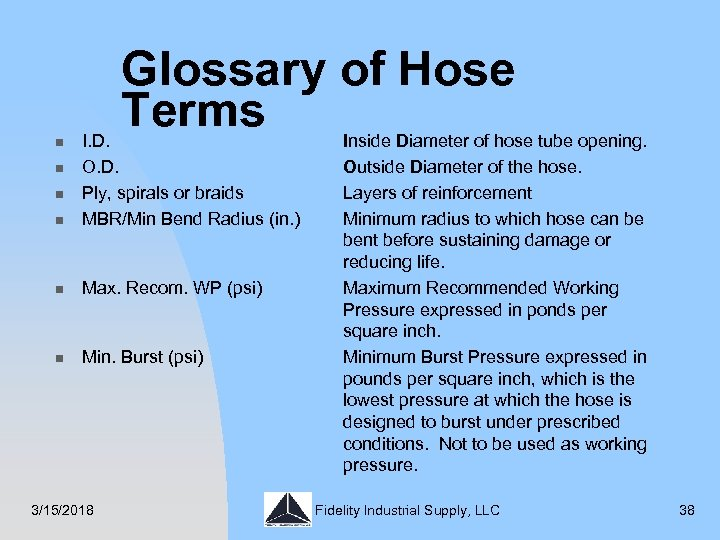 Glossary of Hose Terms n I. D. O. D. Ply, spirals or braids MBR/Min