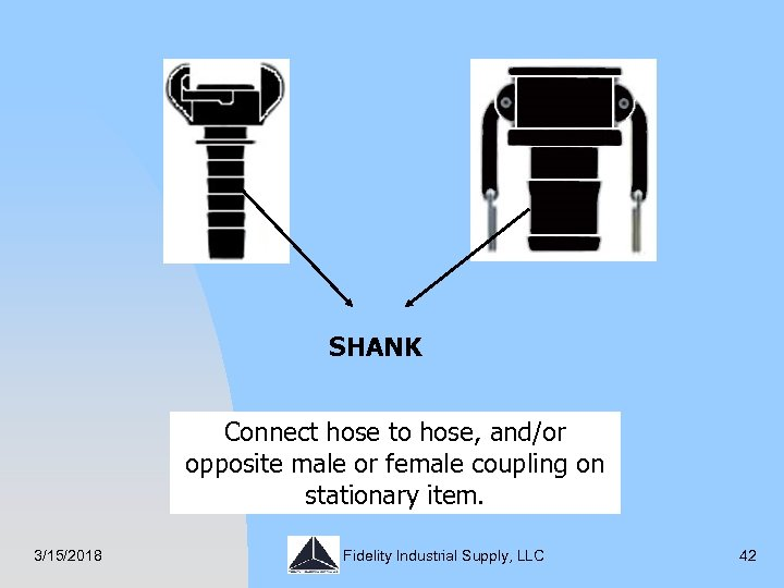 SHANK Connect hose to hose, and/or opposite male or female coupling on stationary item.