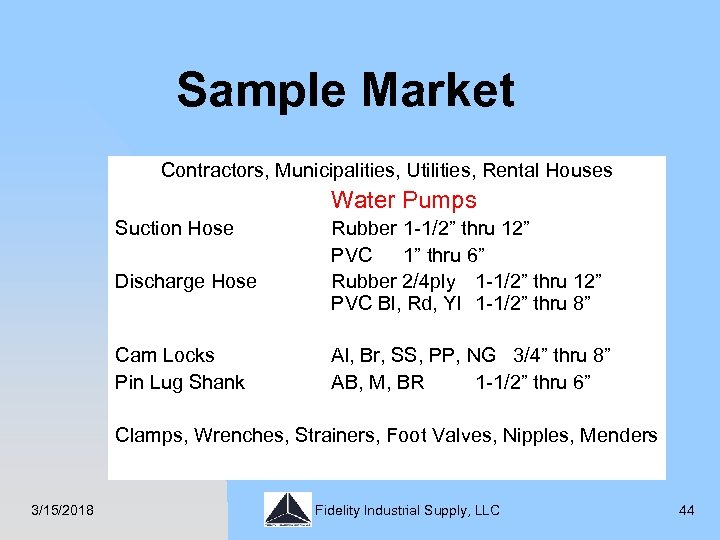 Sample Market Contractors, Municipalities, Utilities, Rental Houses Water Pumps Suction Hose Discharge Hose Cam